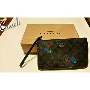 Black Coach Signature Blue Birds Wristlet